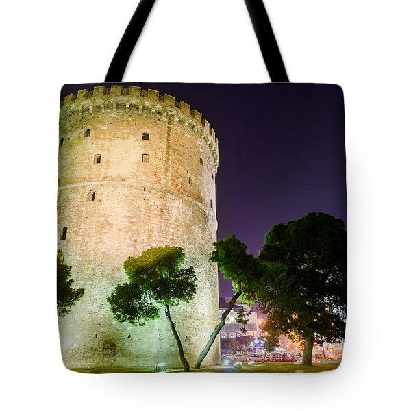 White Tower In Salonica Greece Tote Bag by Sotiris Filippou