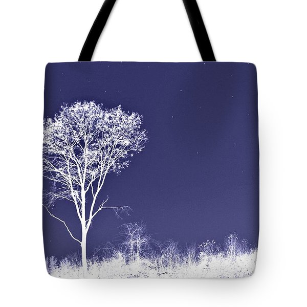 White Tree - Blue Sky - Silver Stars Tote Bag