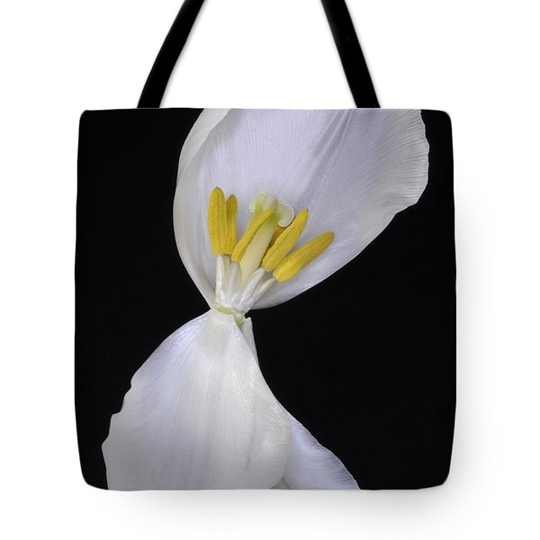 White Tulip On Black Tote Bag