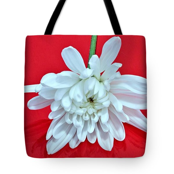 White Flower On Bright Red Background Tote Bag