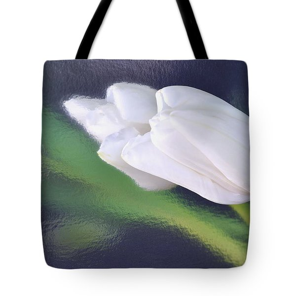 White Tulip Reflected In Dark Blue Water Tote Bag