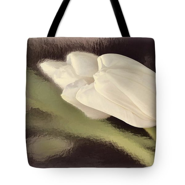 White Tulip Reflected In Misty Water Tote Bag
