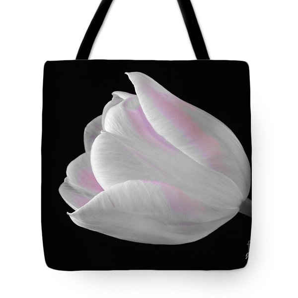 Tote Bag featuring the digital art White Tulip With Pink by Jeannie Rhode