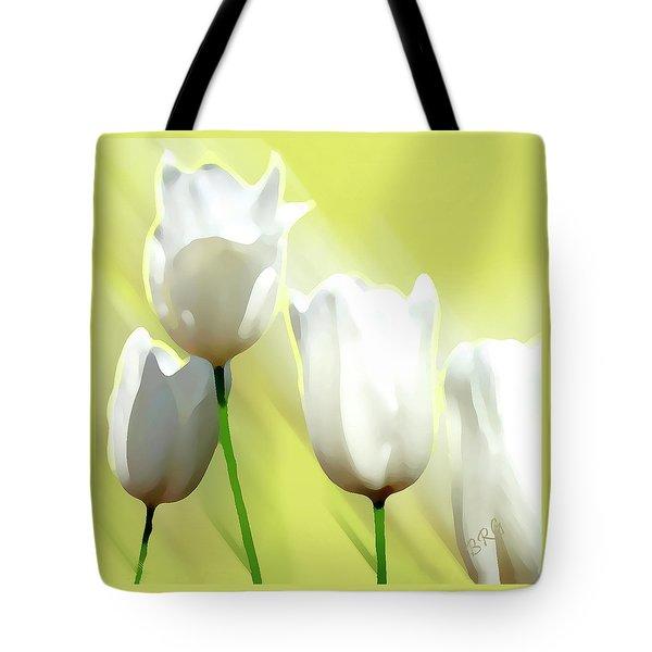 White Tulips Tote Bag by Ben and Raisa Gertsberg