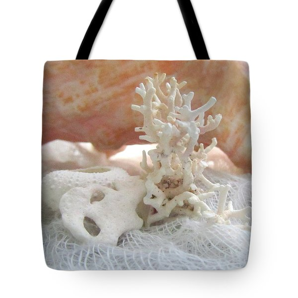 White Urchin Light Pink Corals And Conch Seashell Tote Bag