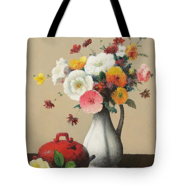 White Vase And Red Box Tote Bag by Felix Elie Tobeen