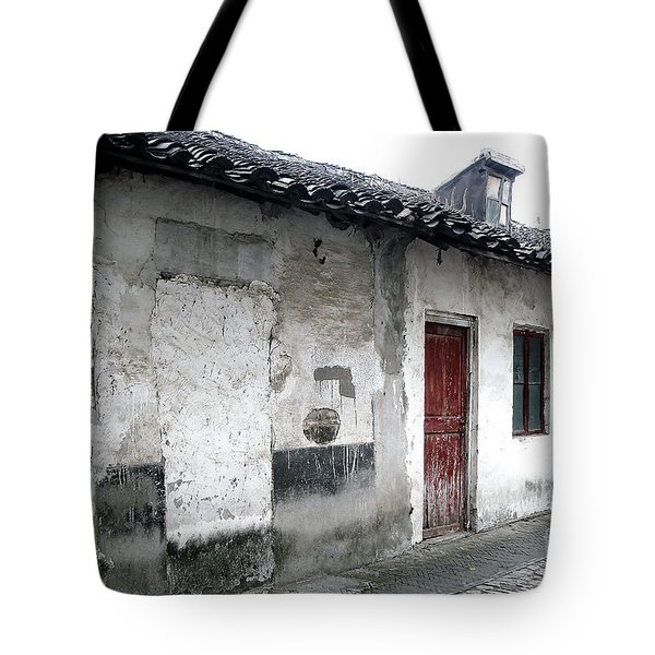 White Walls Red Doors Tote Bag by Ivy Ho