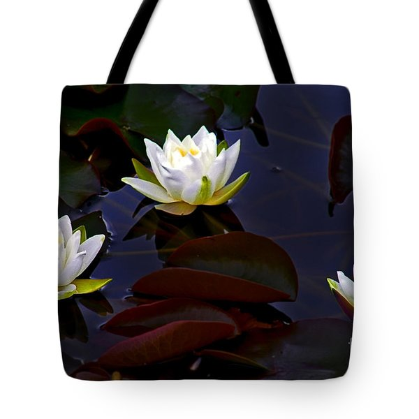 Tote Bag featuring the photograph White Water Lilies by Nina Ficur Feenan
