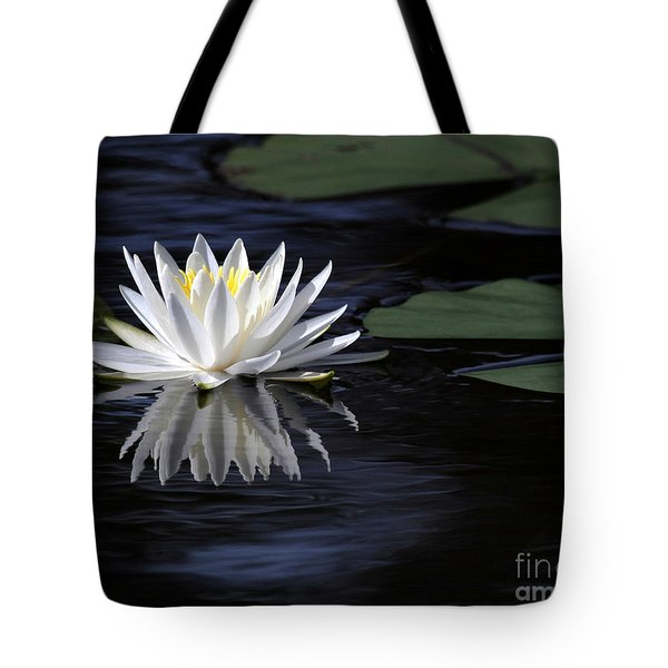 Tote Bag featuring the photograph White Water Lily Left by Sabrina L Ryan