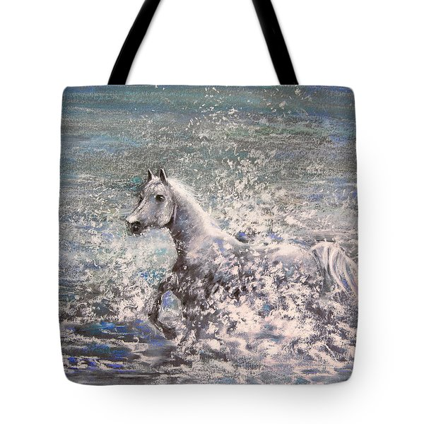 White Wild Horse Tote Bag by Miki De Goodaboom
