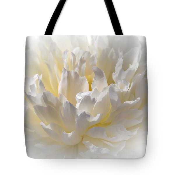White Peony With A Dash Of Yellow Tote Bag by Sherman Perry