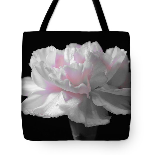 Tote Bag featuring the digital art White With Pink Carnation by Jeannie Rhode
