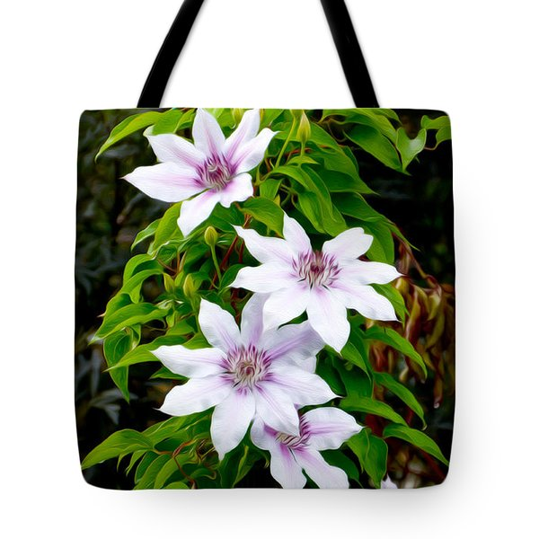 White With Purple Flowers 2 Tote Bag
