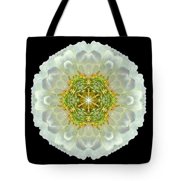 White Zinnia Elegans V Flower Mandala Tote Bag