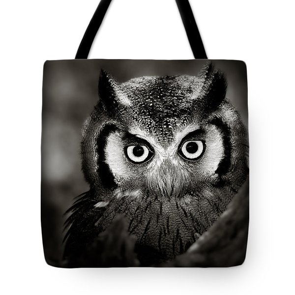 Whitefaced Owl Tote Bag by Johan Swanepoel