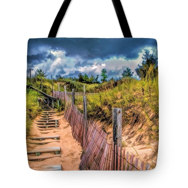 Whitefish Dunes State Park Stairs Tote Bag
