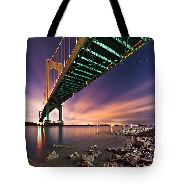 Tote Bag featuring the photograph Whitestone Bridge by Mihai Andritoiu