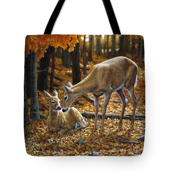 Whitetail Deer - Autumn Innocence 2 Tote Bag