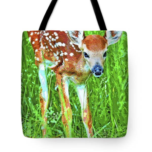 Whitetailed Deer Fawn Digital Image Tote Bag