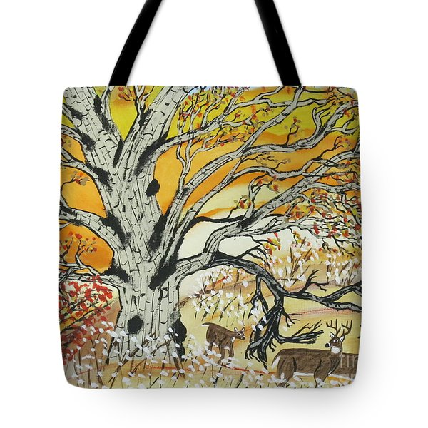 Tote Bag featuring the painting Whitetails And White Oak Tree by Jeffrey Koss