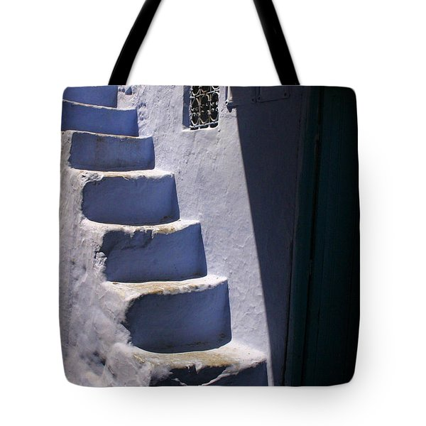 Whitewashed Steps In The Medina Of Asilah On Northwest Tip Of Atlantic Coast Of Morocco Tote Bag by Ralph A  Ledergerber-Photography