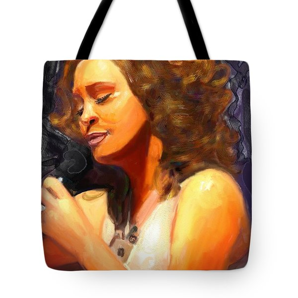 Tote Bag featuring the painting Whitney Gone Too Soon by Vannetta Ferguson