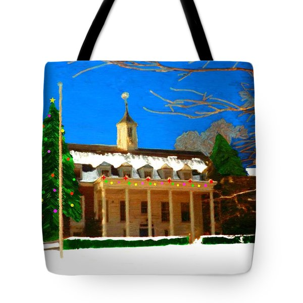 Whittle Hall At Christmas Tote Bag by Bruce Nutting