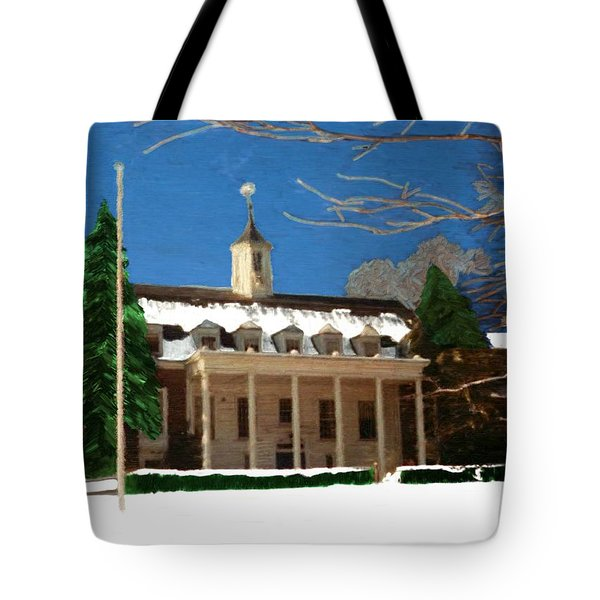 Whittle Hall In The Winter Tote Bag by Bruce Nutting