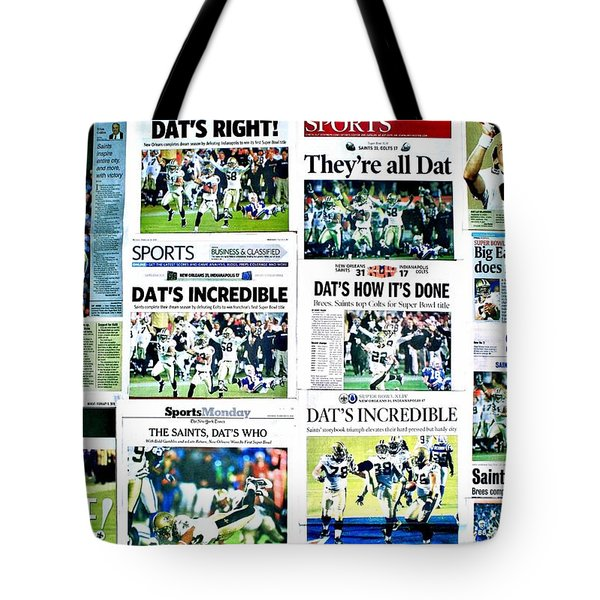 Who Dat Headlines Tote Bag