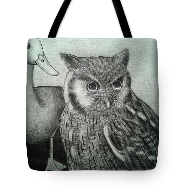 Tote Bag featuring the drawing Who Quack by Richie Montgomery