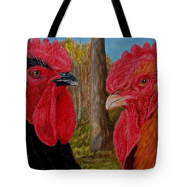 Tote Bag featuring the painting Who You Calling Chicken by Karen Ilari