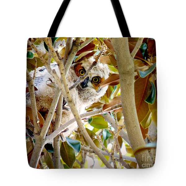 Tote Bag featuring the photograph Whooo Are You? by Meghan at FireBonnet Art