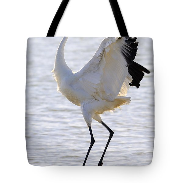 Whooping Crane - Whooping It Up Tote Bag by Tony Beck