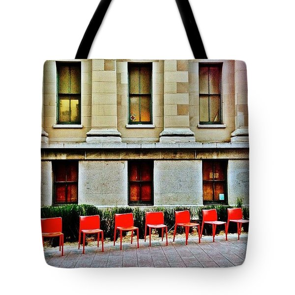 Seven Red Chairs Tote Bag