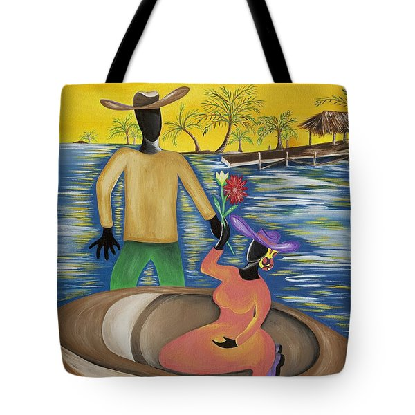 Why The Moon Smiles Tote Bag by Patricia Sabree