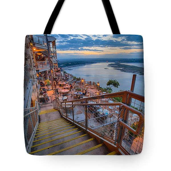 Wide Angle View Of The Oasis And Lake Travis - Austin Texas Tote Bag