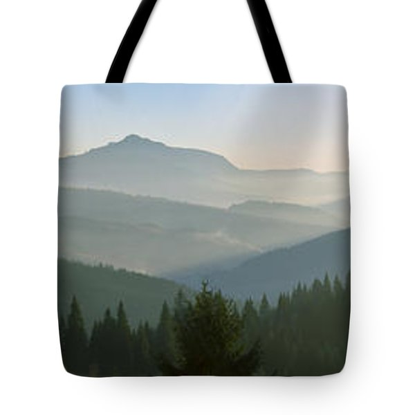 Wide Panorama With Mountains At Sunset In Late November Tote Bag