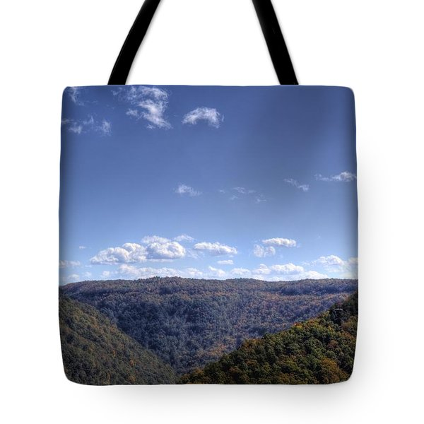 Wide Shot Of Tree Covered Hills Tote Bag