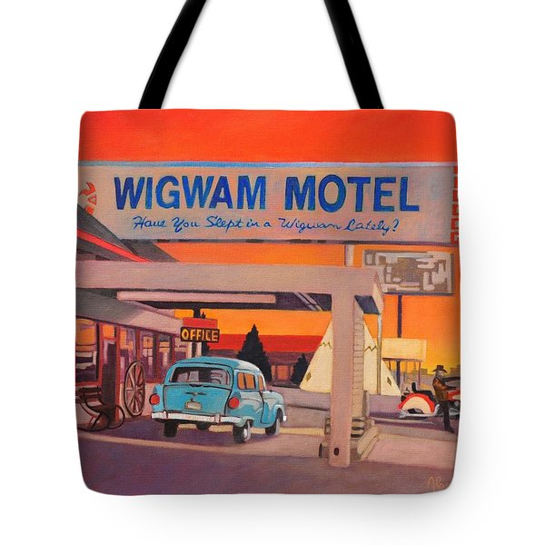 Tote Bag featuring the painting Wigwam Motel by Art James West