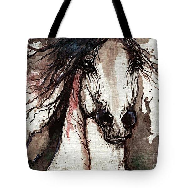 Wild Arabian Horse Tote Bag by Angel  Tarantella