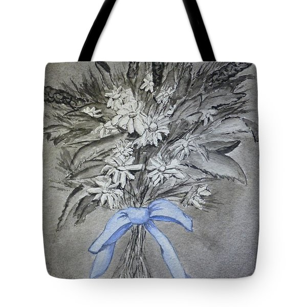 Tote Bag featuring the painting Wild Blue Flowers by Kelly Mills