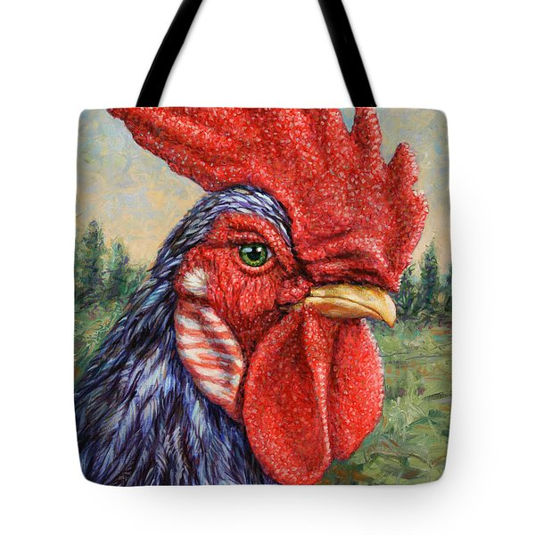 Wild Blue Rooster Tote Bag