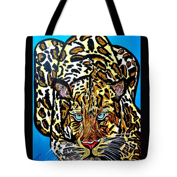 Tote Bag featuring the painting Wild Cat by Nora Shepley