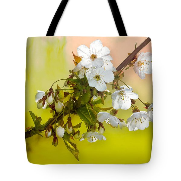Wild Cherry Blossom Cluster Tote Bag by Jane McIlroy