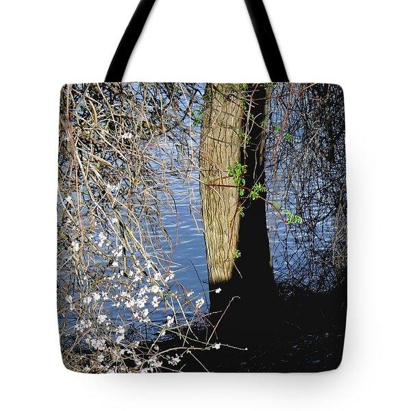 Wild Cherry Tree On The Sacramento River  Tote Bag by Pamela Patch