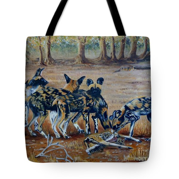 Wild Dogs After The Chase Tote Bag by Caroline Street