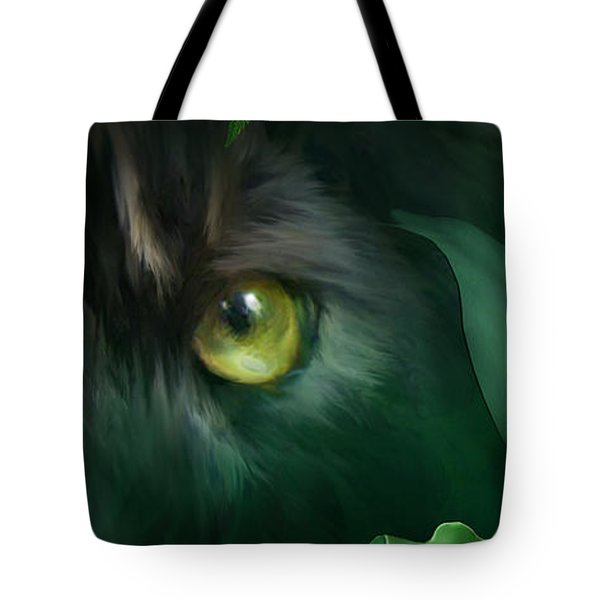 Tote Bag featuring the mixed media Wild Eyes - Black Panther by Carol Cavalaris