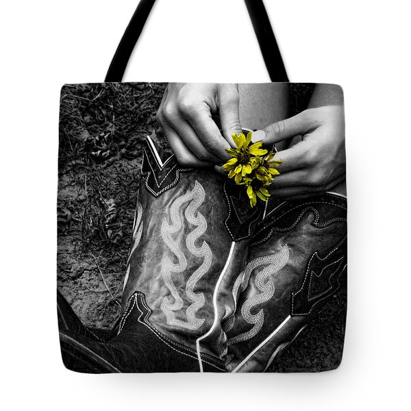 Wild Flower Boots Tote Bag by Kristie  Bonnewell