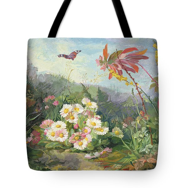 Wild Flowers And Butterfly Tote Bag by Jean Marie Reignier