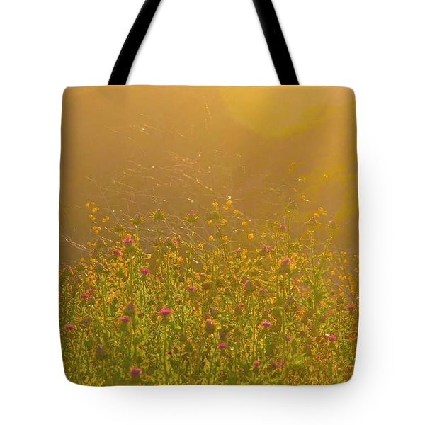 Wild Flowers With Webs Tote Bag